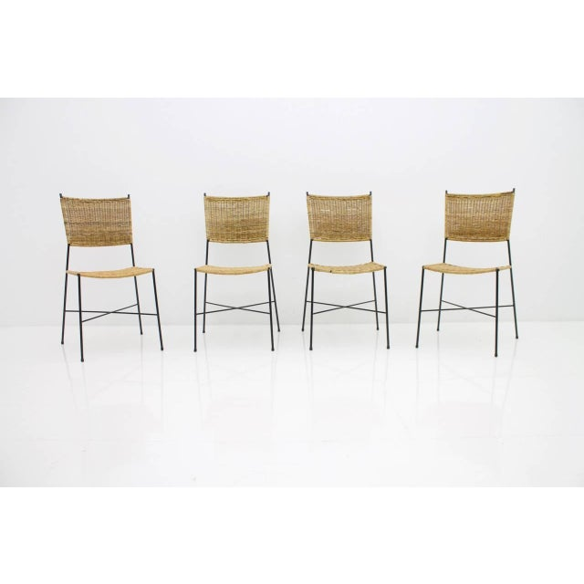 Set of Four Dining Room Chairs in Wicker and Metal, Germany, 1960s For Sale - Image 6 of 12