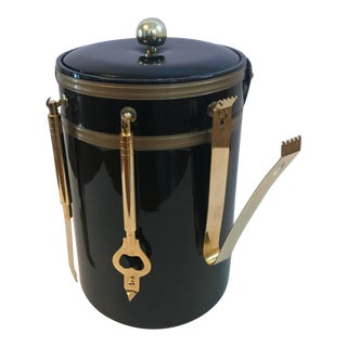 Vintage George Briard Black and Gold Ice Bucket With Tools For Sale