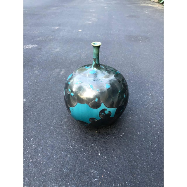 Ceramic Memphis Style Blue and Gray Crystalline Glaze Porcelain Vase For Sale - Image 7 of 7
