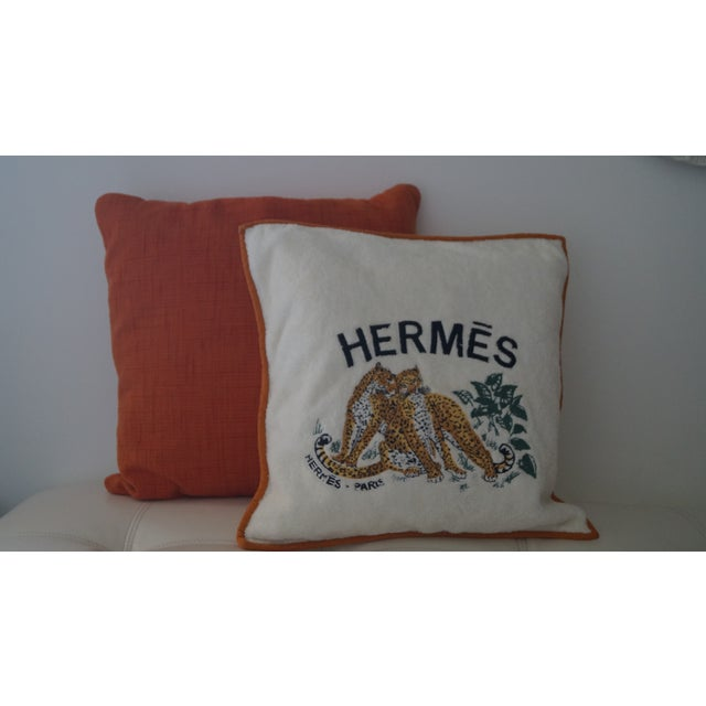 Rare Hermes pillow covers. Embroidery detail Tigers and Hermes stitching. Orange piping with zipper in the back of the...