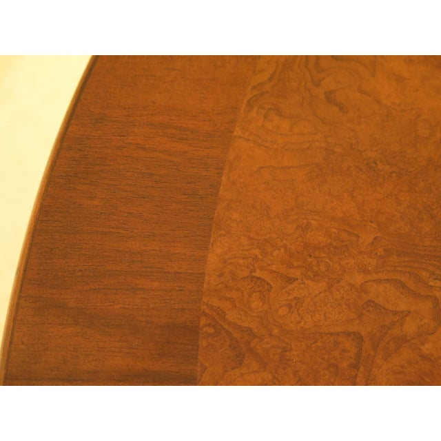 Burl Walnut Round Dining Room Extension Table For Sale - Image 12 of 13