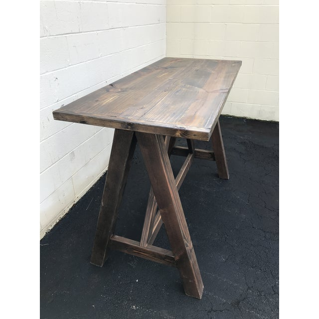 Rustic Wooden Rectangular Center Table For Sale - Image 4 of 9
