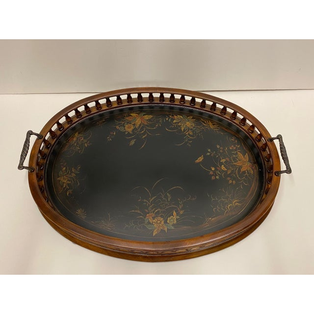 Wood Mahogany Oval Gallery Tray For Sale - Image 7 of 12