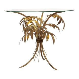 Hollywood Regency Gilt Palm Tree Coffee Table by Hans Kögl For Sale