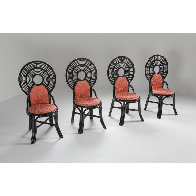 Chinoiserie bamboo dining chairs, set of eight, Italy 1970s. Bamboo carries atmospherical characteristics as this type of...