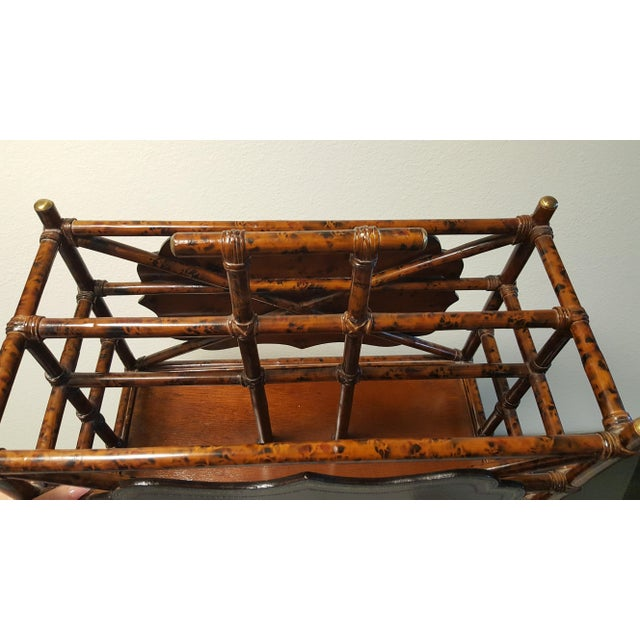 1960s Mid-Century Modern Maitland Smith Bamboo and Leather Magazine Rack For Sale In Phoenix - Image 6 of 9