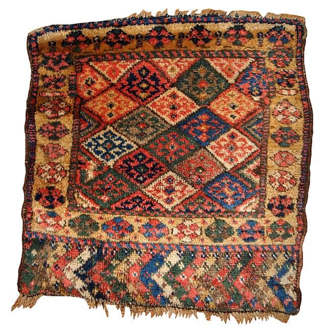 1880s Antique Persian Kurdish Bag Face - 2' x 2' For Sale