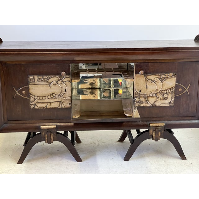 1930s French Art Deco Bar Cabinet With Mirrored Interior For Sale - Image 5 of 13