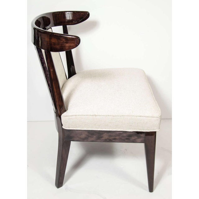 Pair of Mid-Century Modernist Klismos Style Chairs in Ebonized Walnut For Sale In New York - Image 6 of 9