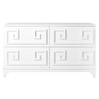 Worlds Away Werstler White Lacquer Greek Key 4-Drawer Dresser Chest of Drawers With Mirrored Top