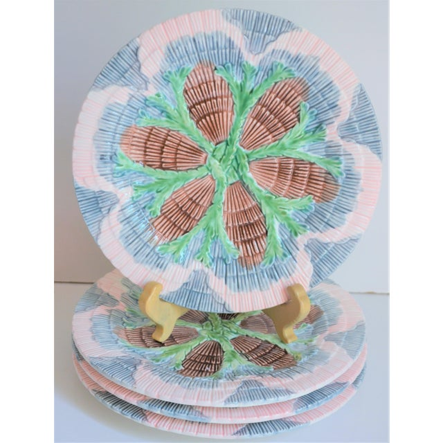 Ceramic Vintage Horchow Majolica Seashell Plates - Set of 4 For Sale - Image 7 of 8
