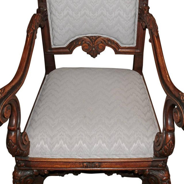 Spanish Hand-Carved Wood With 24-Karat Gold-Plated Bronze Emblem Kings Chair - Image 10 of 11