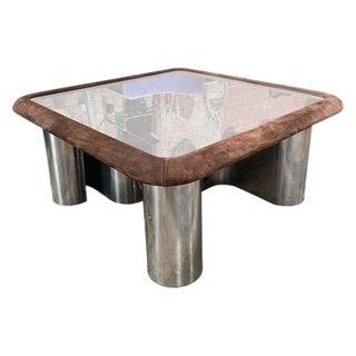 F.lli Saporiti Mid-Century Modern Italian Chrome Coffee Table, 1970s For Sale