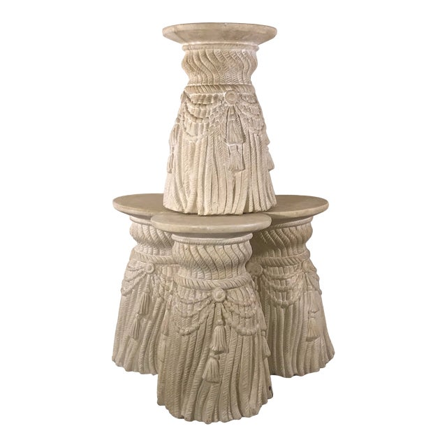 Late 20th Century Hollywood Regency Tassel Fringe Rope Side Tables- Set of 4 For Sale