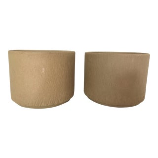 Gainey Ceramics Unglazed Incised Sgraffito Planters - A Pair For Sale
