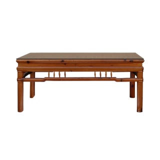 Rectangular Glass Top Coffee Table With Chinese Old Windows Panel Design For Sale