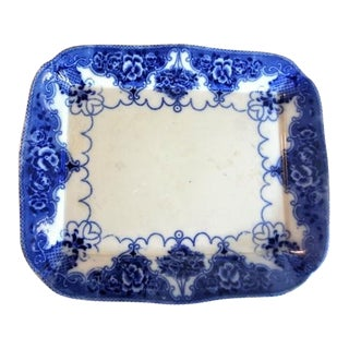 Late 19th Century Antique Samuel Ford & Co. Flow Blue China Meat Platter For Sale
