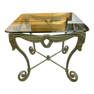 1960s Italian Iron Glass Top Side Table For Sale