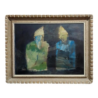 Robert Moesle -Two Abstract and Surreal Figures Painting For Sale