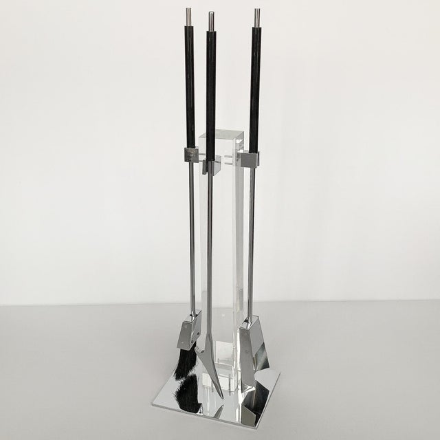 Mid-Century Modern 1970s Albrizzi Lucite and Chrome Fireplace Tools For Sale - Image 3 of 11