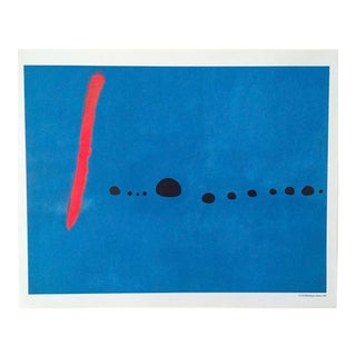 Joan Miro Blue II Poster C.1961 in a Brushed Silver Frame with White Matting For Sale