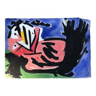 "Original Robert Cooke ""Dancing Chicken"" Vintage Painting For Sale"