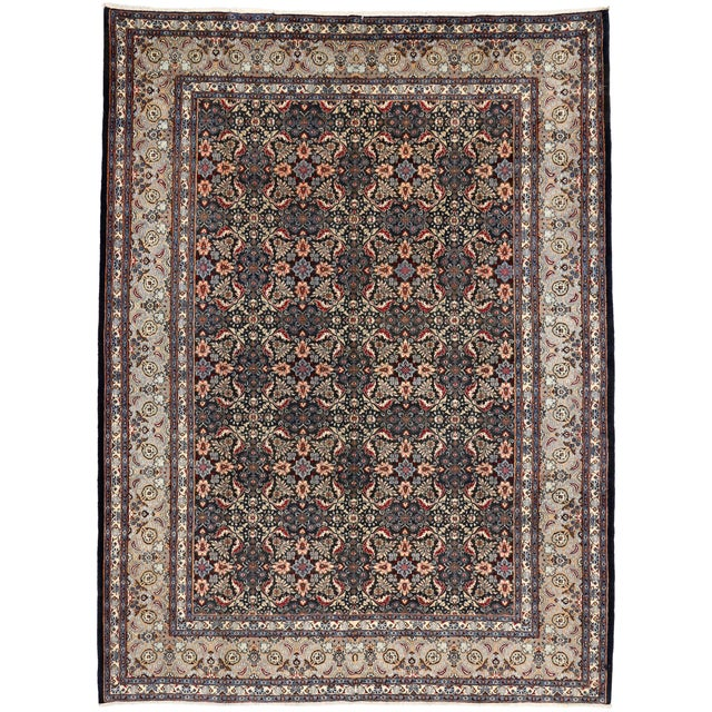 """Vintage Persian Mashad Wool Rug - 8'5"""" X 11'2"""" For Sale In Dallas - Image 6 of 7"""
