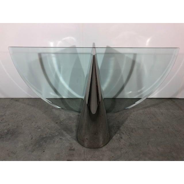 Two J Wade Beam Pinnacle polished steel dining tables based for Brueton available. Price is for a single base. There is no...