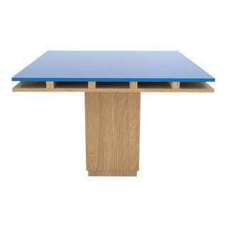 Contemporary 101C Dining Table in Oak and Blue by Orphan Work, 2019 For Sale