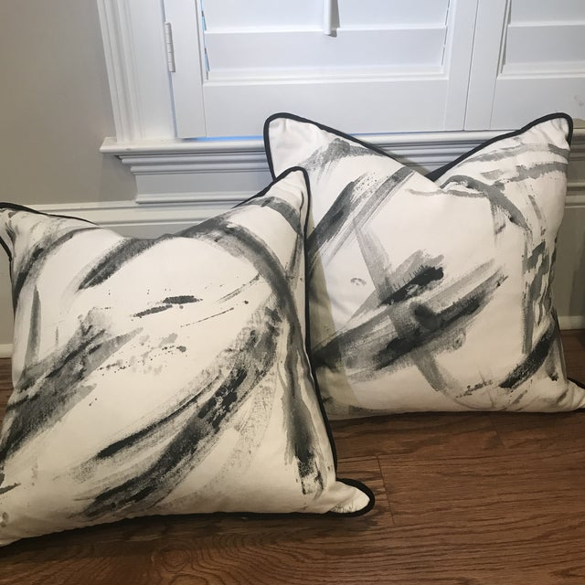 Abstract Hand-Painted Custom Artist Signed Pillows - a Pair For Sale - Image 11 of 13