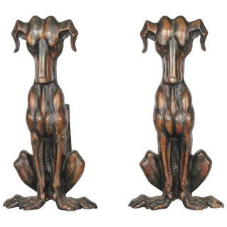 Art Deco Copper Dog Andirons - a Pair For Sale