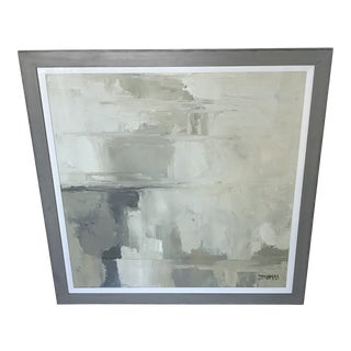 "Abstract ""Distant Dreams"" Neutral Gray Framed Painting With Linen Mat For Sale"