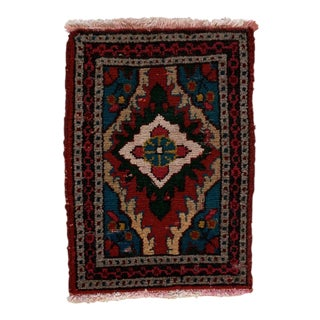 1970s Vintage Miniature Hand-Knotted Persian Zanjan Felted Wool Accent Rug - 1′4″ × 1′11″ For Sale