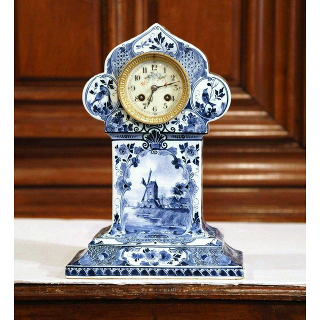Complete your mantel or desk with this antique, hand-painted mantel clock. Created in Holland, circa 1920, and signed...