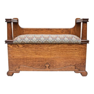Antique Oak Mudroom Storage Bench