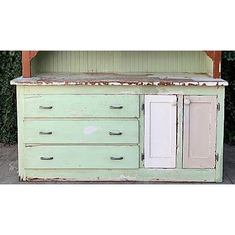 Wood Antique Farmhouse Hutch For Sale - Image 7 of 8
