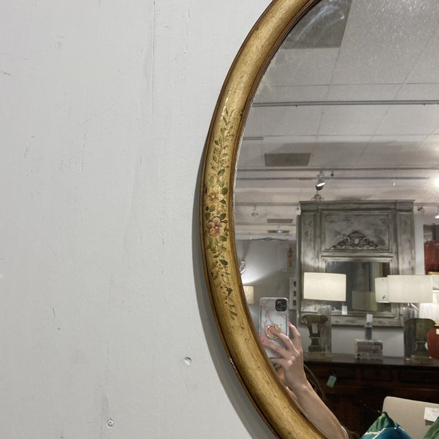 Vintage Yellow Hand-Painted Mirror For Sale - Image 4 of 7