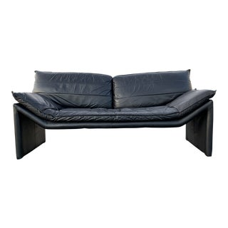 1980s Vintage Black Leather Loveseat For Sale