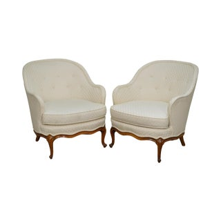 French Louis XV Style Vintage Barrel Back Bergere Club Chairs - A Pair