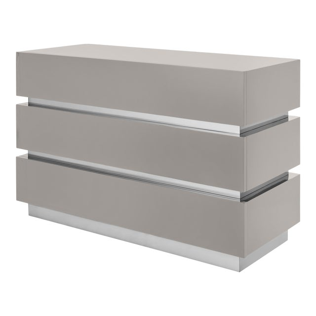 Banded Chest Of Drawers in Taupe / Nickel - Flair Home for The Lacquer Company For Sale