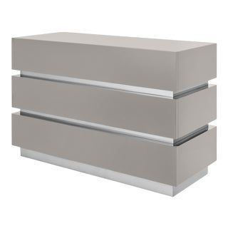 Flair Collection Banded Chest Of Drawers in Taupe / Nickel For Sale