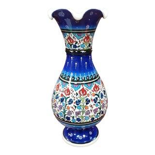 Vintage Circa 1970 Maui Art Pottery Ceramic Floral Motif Footed Baluster Vase For Sale