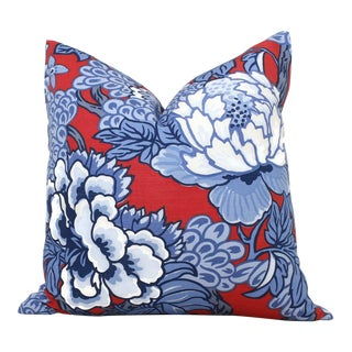 Blue and Red Floral Decorative Pillow Cover in Thibaut Honshu For Sale