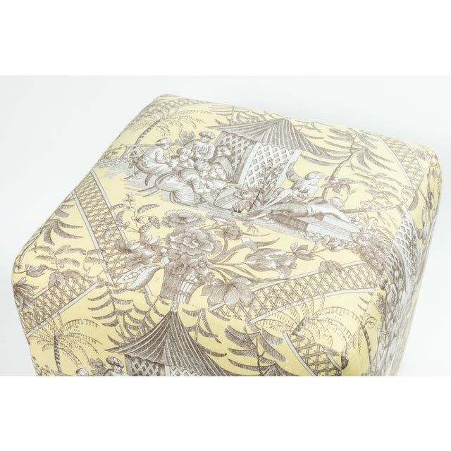 Textile 0f Chinoiserie Toile Ottomans - a Pair For Sale - Image 7 of 10