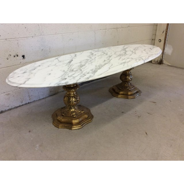 Fuggiti Studios Italian Carrara Marble & Gold Gilt Coffee Table - Image 4 of 11