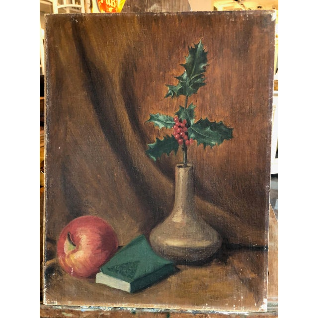 Art Deco Still Life With Festive Holly Branch For Sale - Image 10 of 10