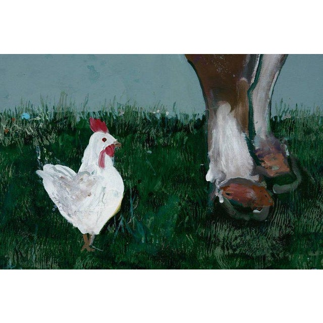 Ira Yeager French Flowered Cow With Chickens Painting by Ira Yeager For Sale - Image 4 of 13