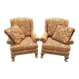 Taylor King Wingback Armchairs with Pillows - Set of 2 For Sale
