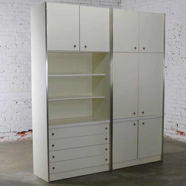 Mid Century Modern White Laminate Wall Unit Bookcase Display Cabinets, a Pair - Image 11 of 11