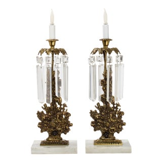 Antique Brass Floral Candlestick Electric Lamps With Crystal Drops and Marble Base - a Pair